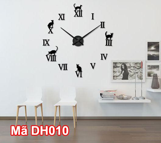 Đồng hồ dán tường mã DH010 màu đen