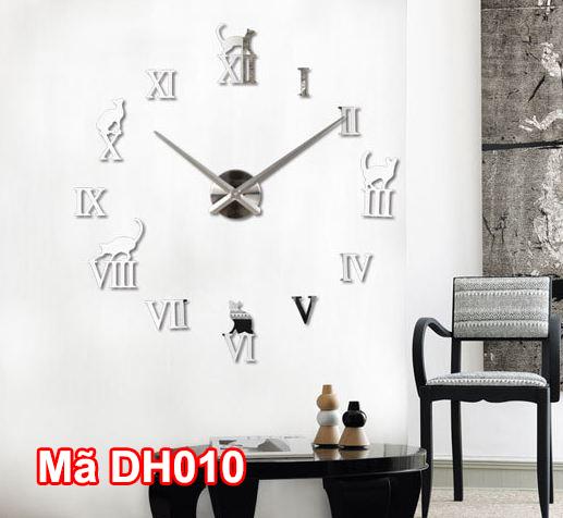 Đồng hồ dán tường mã DH010 màu bạc