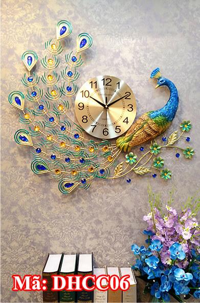 đồng hồ chim công mỹ nghệ treo tường