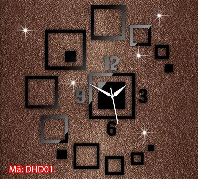 Đồng hồ dán tường cỡ nhỏ mã DHD01 màu đen
