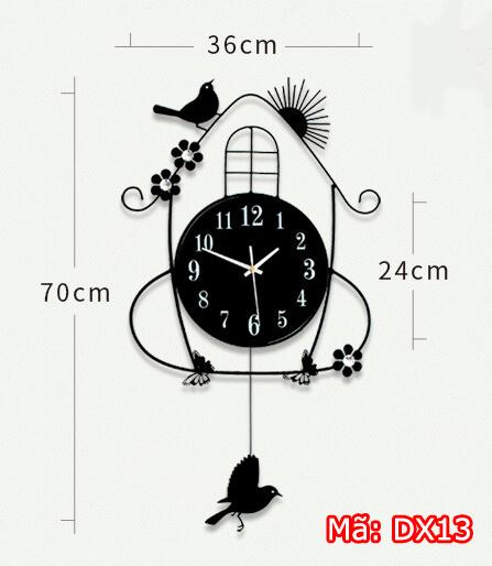 Đồng hồ treo tường họa mi màu đen