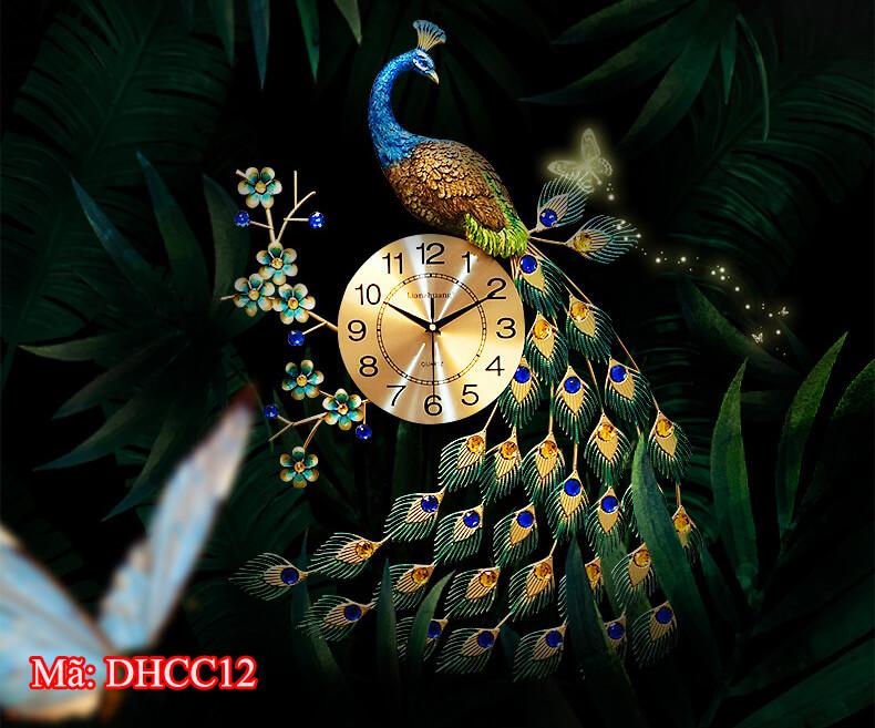 Đồng hồ trang trí con công DHCC12