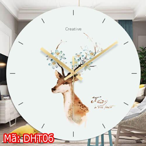đồng hồ tròn treo tường hình hươu