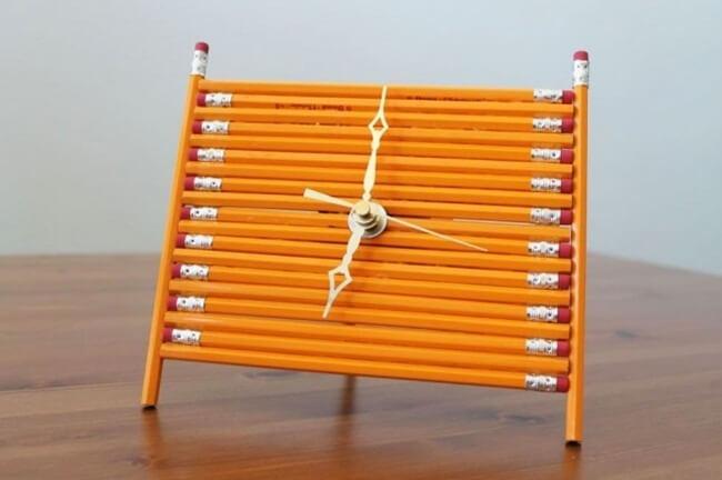 tự làm đồng hồ treo tường bút chì
