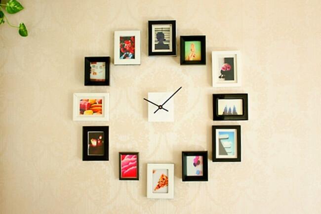 đồng hồ treo tường tự chế với khung ảnh