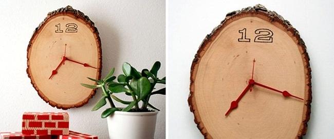 chế đồng hồ treo tường bằng gỗ cây