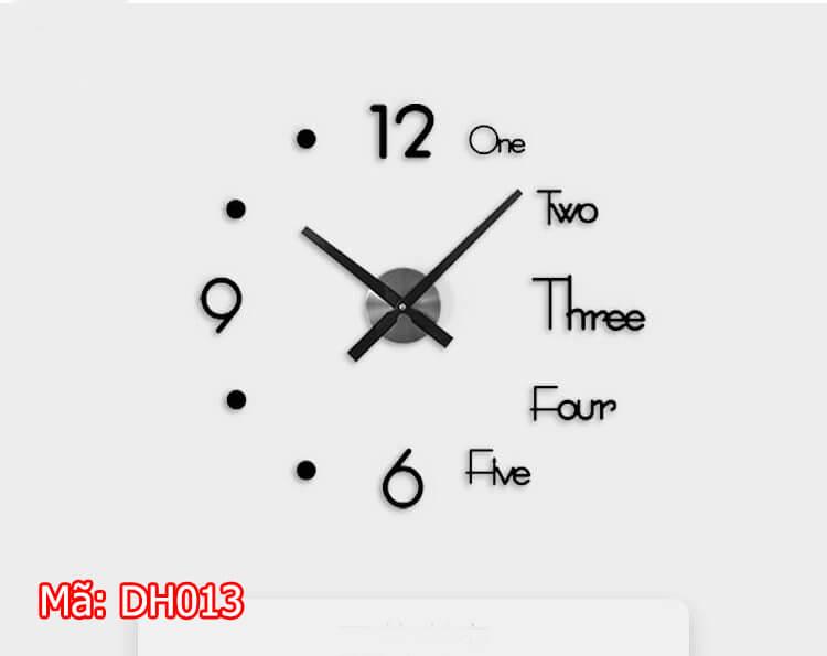 đồng hồ dán tường DH013 màu đen