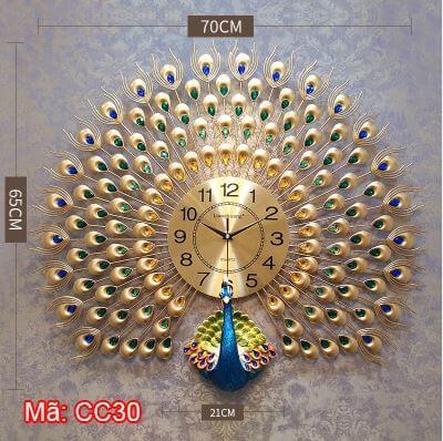Đồng hồ con công vàng